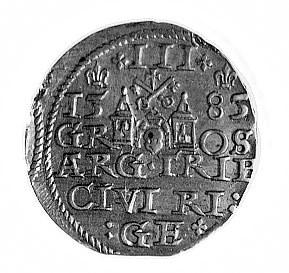 trojak 1585, Ryga, j.w., Gum. 814, Kurp. 451 R, odmiana...