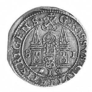 grosz 1581, Ryga, Aw: Popiersie w koronie i napis, Rw: ...