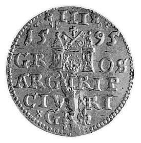trojak 1595, Ryga, Aw: Popiersie w koronie i napis, Rw:...