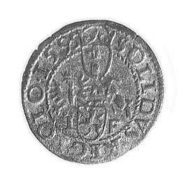 szeląg 1595, Wschowa, Aw: Monogram królewski; w znaki m...
