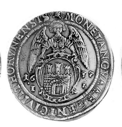 talar 1637, Toruń, Aw: Półpostać w koronie i napis, Rw:...