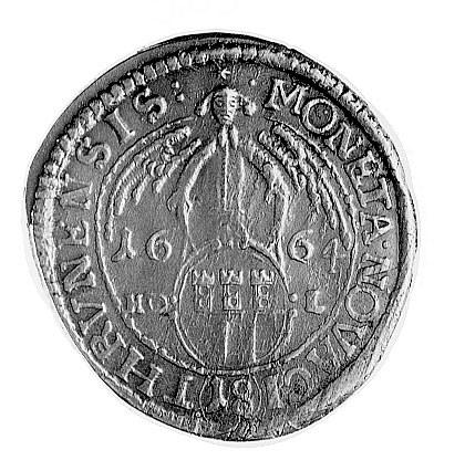 ort 1664, Toruń, Aw: Popiersie w koronie i napis, Rw: H...