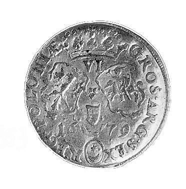 szóstak 1679, Bydgoszcz, Aw: Popiersie w wieńcu laurowy...