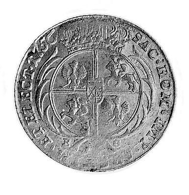 ort 1756, Lipsk, Aw: Duże popiersie w koronie i napis, ...
