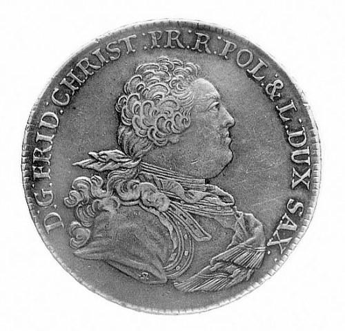 talar 1763, Drezno, Aw: Popiersie i napis, Rw: Tarcze h...