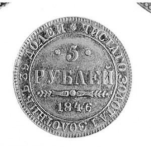 5 rubli 1846, Warszawa, Aw: Orzeł carski, Rw: Napisy. P...