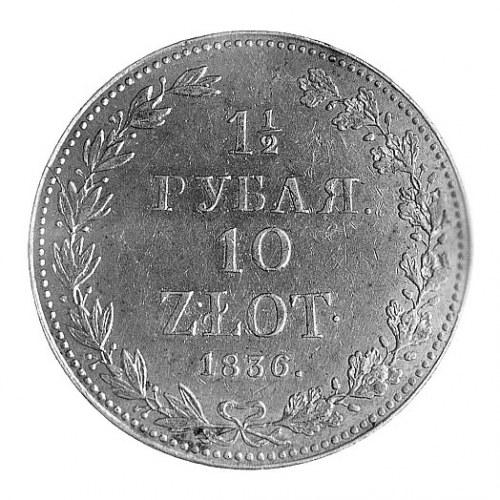 1 1/2 rubla = 10 złotych 1836, Warszawa, Aw: Orzeł cars...