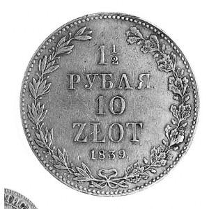1 1/2 rubla = 10 złotych 1839, Warszawa, j.w., Plage 33...