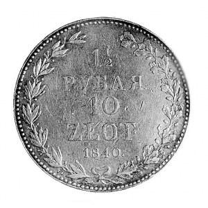 1 1/2 rubla = 10 złotych 1840, Warszawa, Aw: Orzeł cars...