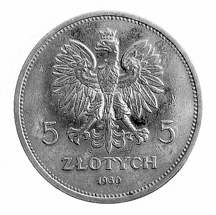 5 złotych 1930, Warszawa, Sztandar głęboki.