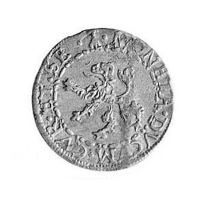szeląg 1600, Mitawa, Aw: Monogram królewski i napis, Rw...