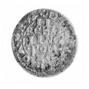 dwuszeląg 1620, Darłowo, Aw: Tarcza z gryfem i napis, R...