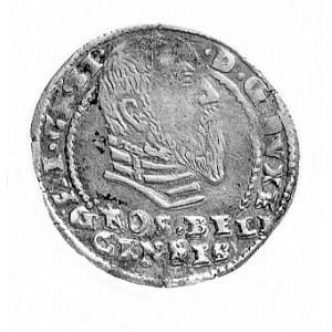 grosz 1570, Aw: Głowa, poniżej napis GROS.BILI./GENSIS,...