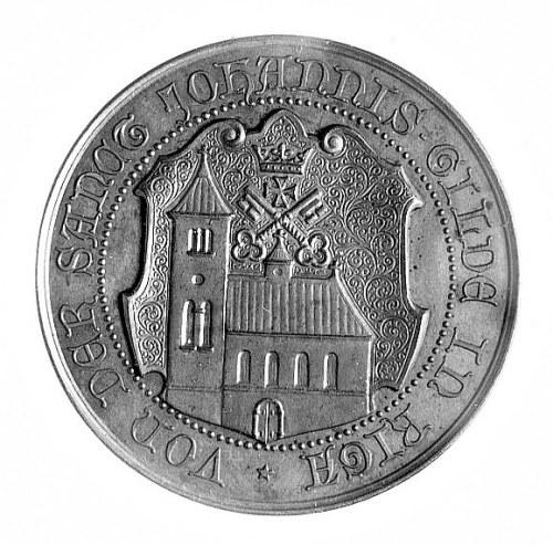 medal na 700-lecie Rygi 1901 r., Aw: Stojący św. Jan z ...