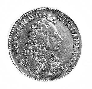 dukat 1700, Kopenhaga, Aw: Popiersie i napis w otoku, R...