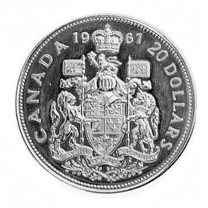 20 dolarów 1967, Ottawa, Aw: Głowa królowej i napis, Rw...