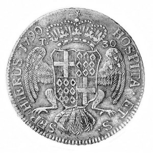 30 tari 1790, Aw: Popiersie i napis, Rw: Ukoronowany he...