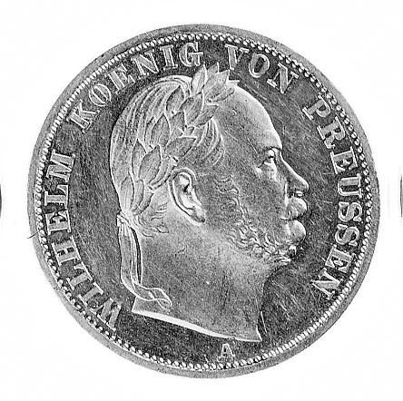 talar 1866, Berlin, Aw: Głowa w wieńcu laurowym i napis...