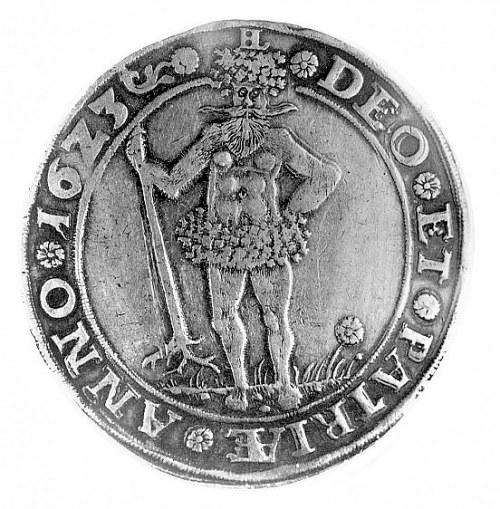talar 1623, Aw: Dziki człowiek, w otoku napis i data, h...