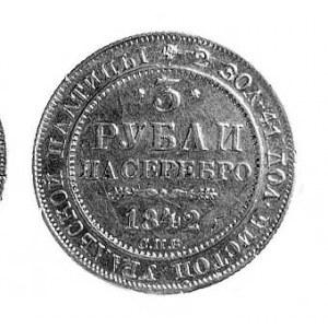 3 ruble srebrem 1842, Petersburg, Aw: Orzeł dwugłowy, R...