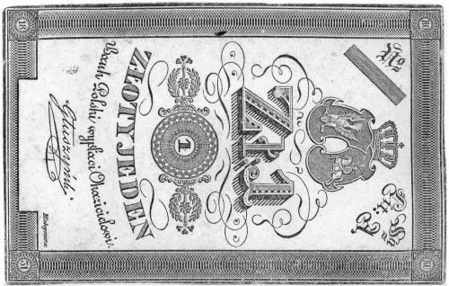 1 złoty 1831, podpis: Głuszyński, druk na białym papier...