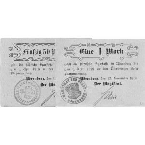 Ińsko (Nörenberg)- 50 fenigów i marka 12.11.1918 wydane...