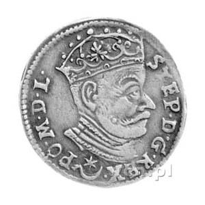 trojak 1581, Wilno, bardzo rzadka odmiana z listkiem po...