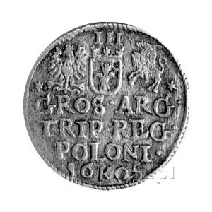 trojak 1605, Kraków, drugi egzemplarz, inny krój cyfry ...