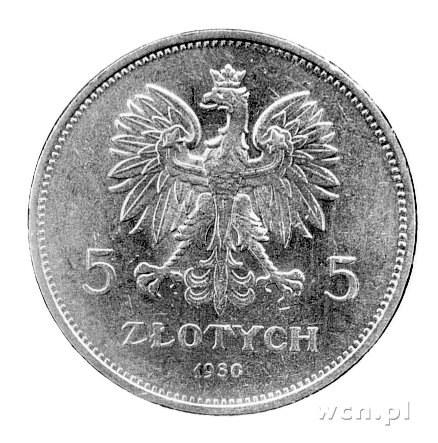 5 złotych 1930, Warszawa, Nike, rzadkie.