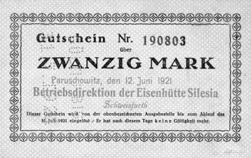 Paruszowiec /Paruschowitz/- 20 marek 13.06.1921 ważne d...
