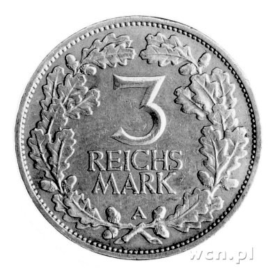 3 marki 1925-A, Rheinlande, J. 321.