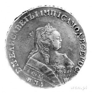 rubel 1749, Moskwa, Popiersie, niżej litery , Rw: Orzeł...