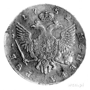 rubel 1752, Sankt Petersburg, Aw: Popiersie, niżej lite...