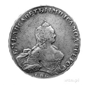 rubel 1755, Sankt Petersburg, Aw: Popiersie, niżej lite...