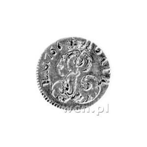 połtina 1756, Aw: Popiersie, Rw: Monogram, w otoku nomi...