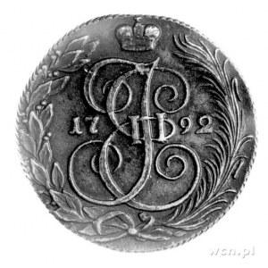 5 kopiejek 1792, Kolywań, Aw: Orzeł dwugłowy, niżej lit...
