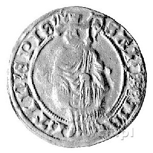 j.w., gulden św. Marcina, Aw: Stojący na wprost św. Mar...