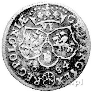 szóstak 1684, Bydgoszcz, pod popiersiem króla w wieńcu ...
