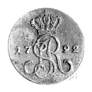 grosz 1792, Warszawa, literki MV pod tarczą herbową, Pl...