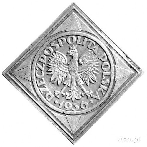 5 złotych 1936, Żaglowiec, klipa, Parchimowicz P-149a, ...