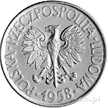 10 złotych 1958, Tadeusz Kościuszko, bez napisu PRÓBA, ...