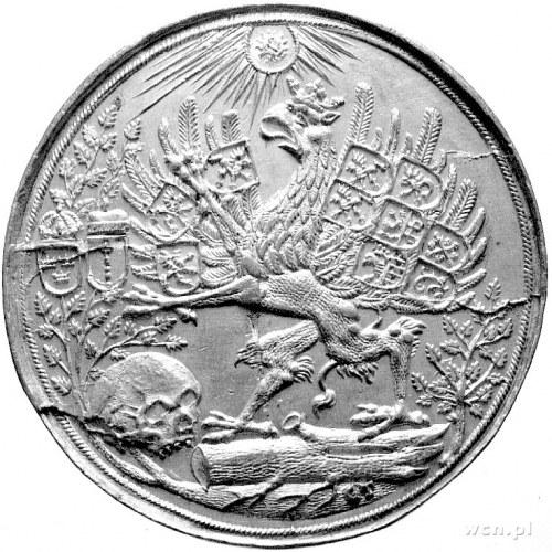 talar 1654, Szczecin, Aw: Gryf z 10 tarczani z herbami ...