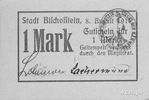 Bisztynek (Bischofstein)- 1 marka b.r. (1914), Keller 2...