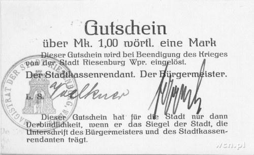 Prabuty (Riesenburg)- 1 marka b.r. (1914), Keller 315, ...