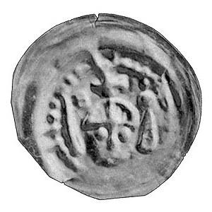 brakteat ratajski bity przed 1250 r.; Głowa na wprost, ...