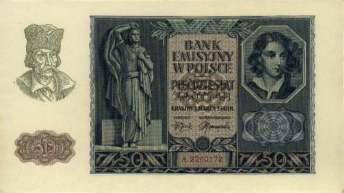 50 złotych 1.03.1940, seria A 2260172, Pick 96, Lucow 7...