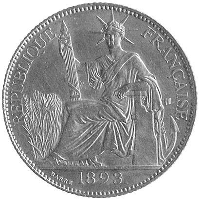 20 centów 1893, Aw: Siedząca Wolność, Rw: W wieńcu nomi...