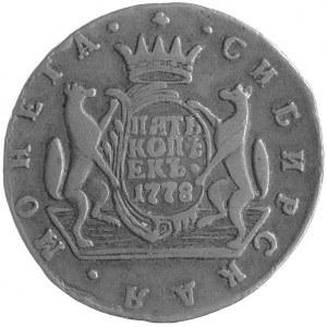 5 kopiejek 1778, Koływań, Uzdenikow 4335, Brekke 525, m...