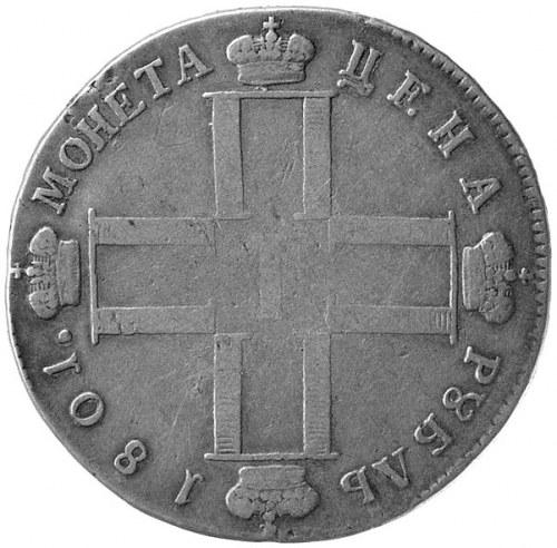 rubel 1801, Petersburg, Aw: Poczwórny monogram, Rw: Nap...