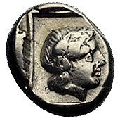 LESBOS- Mytilene, El-hekte 450-330 pne, Aw: Głowa Apoll...